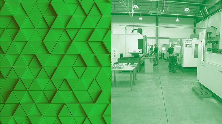 Zielony boks przedstawiający wytryskarki wkorytarzu