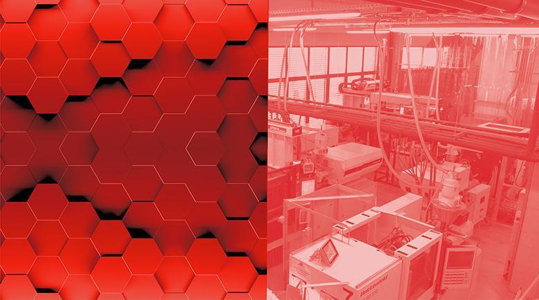 Czerwony boks przedstawiający hale produkcyjną